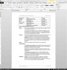 Iso Description Template by Fsms Descriptions Procedure