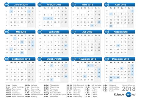 Kalendar 2018 Germany Kalender 2018