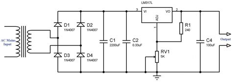 1n4007 diode in orcad variable power supply using lm317 voltage regulator