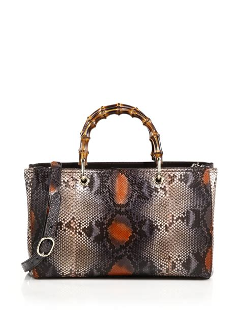 Gucci Python Bag by Lyst Gucci Bamboo Handle Python Tote Bag In Brown