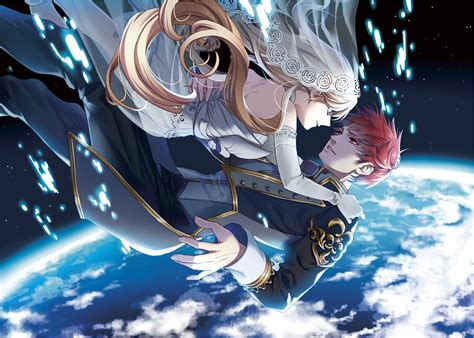 anime girl wallpaper space original couple anime earth red hair blonde love space