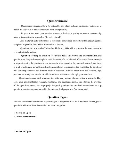 Research Questionnaire Cover Letter Exle Questionnaire
