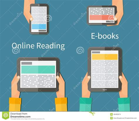 free reading reading and e book mobile devices stock vector