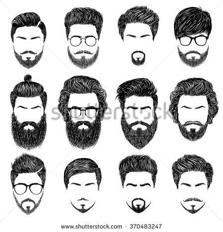 guy hairstyles drawing a set of mens hairstyles beards and mustaches gentlmen