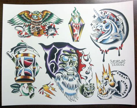 wizards traditional tattoo flash sheet
