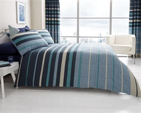 blue bedding and curtain sets blocks and stripes printed curtain set blue