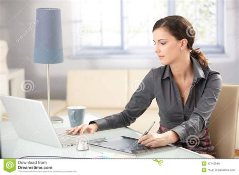 graphic designer working at home stock image image