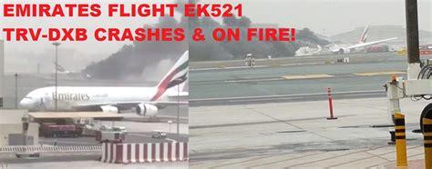 emirates flight 521 emirates flight ek521 trv dxb crash lands in dubai on