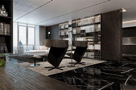 black marble flooring chic luxurious apartments with dark modern interiors