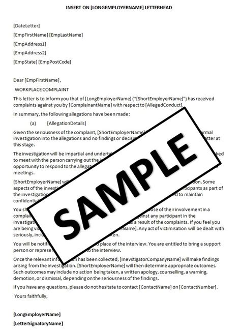 Complaint Letter Workplace Bullying Template hr advance document page