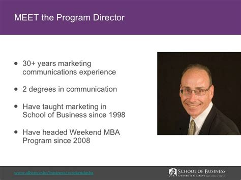 Ip Weekend Mba Eligibility by At Albany Weekend Mba Program Overview
