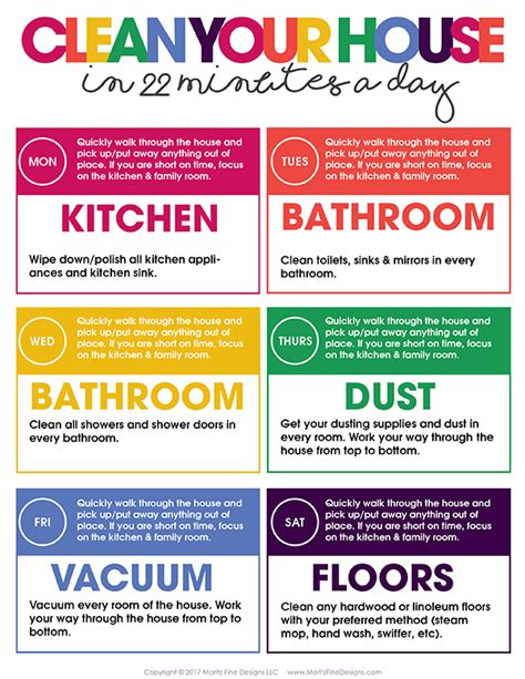how to clean your house in a day clean your house in 22 minutes a day free printable