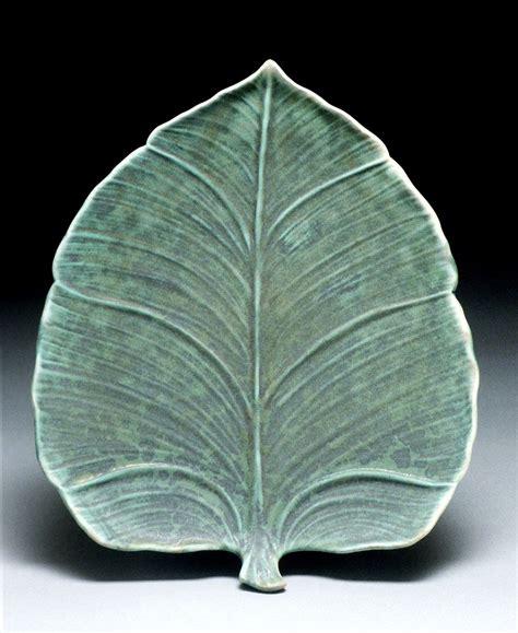 leaf pattern brush leaf plate richard vincent pottery slip design brush on
