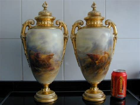 royal worcester large pair of vases and covers decorated