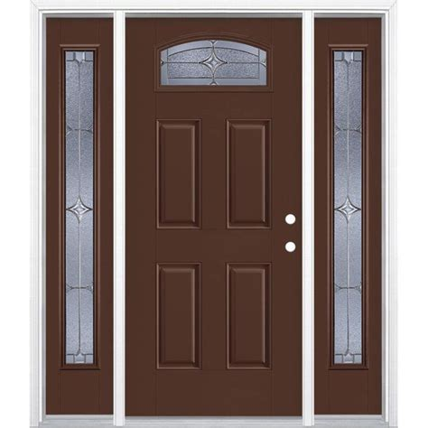 Masonite Doors Exterior Shop Masonite Astrid Decorative Glass Left Inswing Chocolate Fiberglass Painted Entry Door