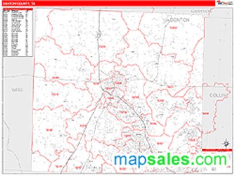 zip code map denton tx denton county tx zip code wall map red line style by