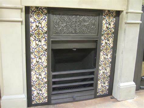 original arts and crafts tiled insert 001ti old fireplaces