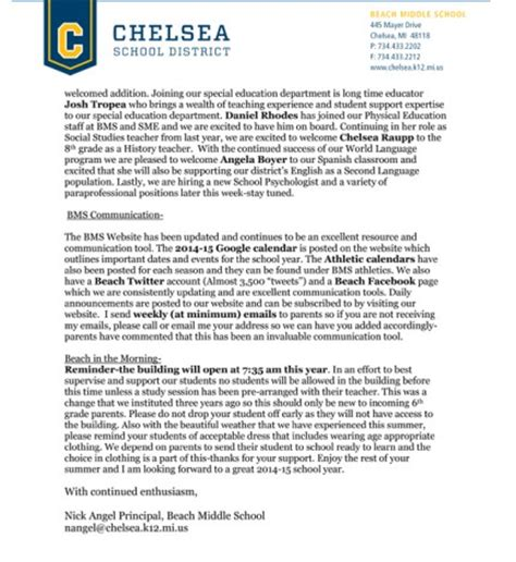 Parent Letter Middle School Chelsea Update Chelsea Michigan News
