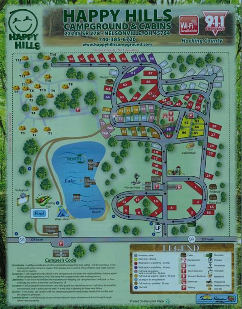 Cabin Park Map by Hocking Cground Cabin Cers And Tents With