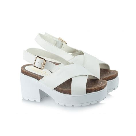 sole sandals womens white cross chunky sole sandals