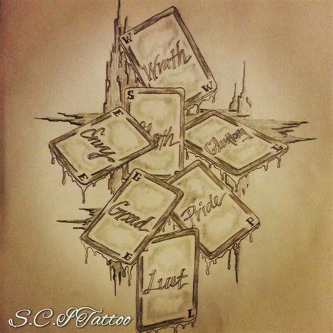 seven deadly sins tattoo design 7 deadly sins sketch by ranz