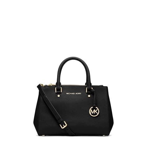 Mk Saffiano Small Satchel 1 lyst michael kors sutton small saffiano leather satchel in black