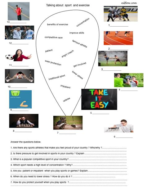 talking about sport vocabulary activity and questionnaire
