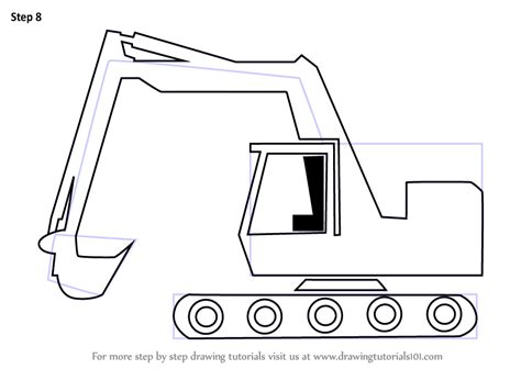 learn   draw  cartoon excavator construction step  step drawing tutorials