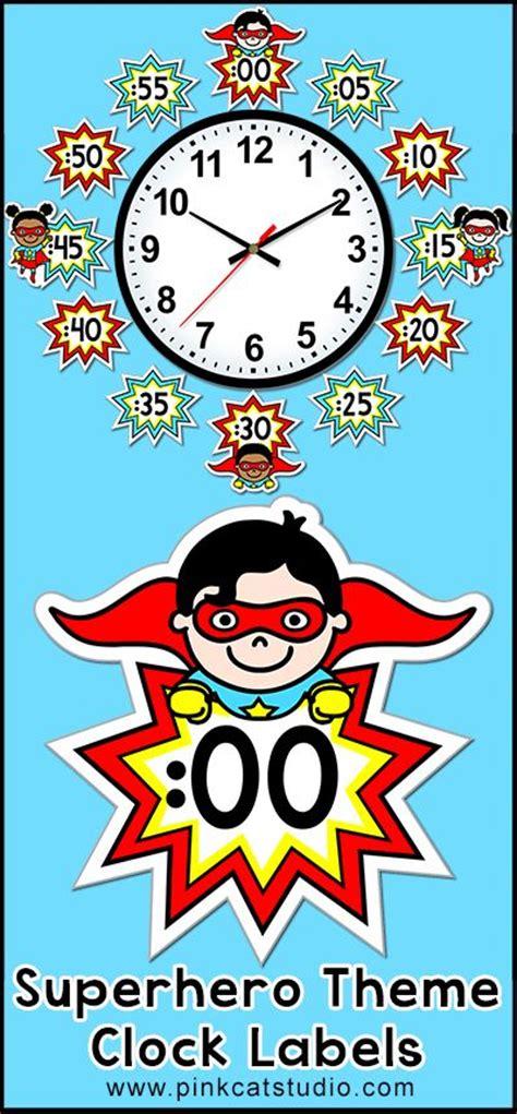 themes clock time telling time clock labels superhero theme back to