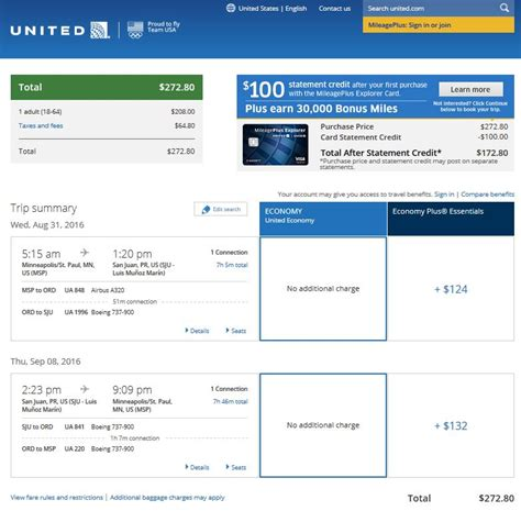united airlines booking 273 minneapolis to san juan puerto rico r t fly