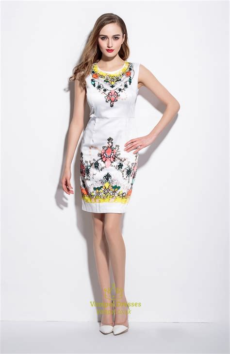Floral Print Sleeveless Dress white sleeveless floral print summer sheath dress val
