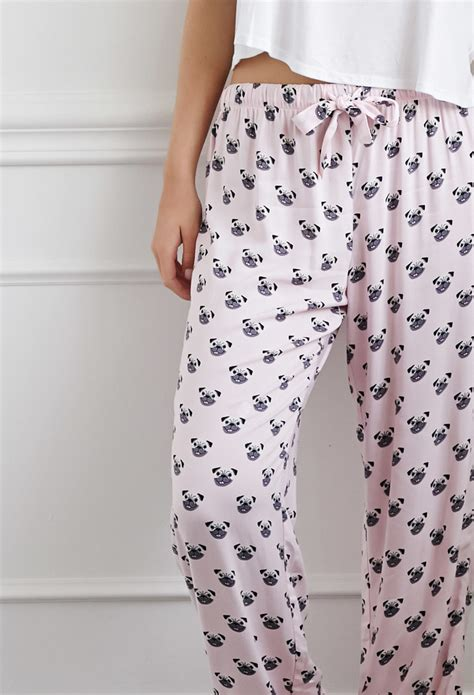 pug pajama shorts forever 21 pug print pj in pink lyst