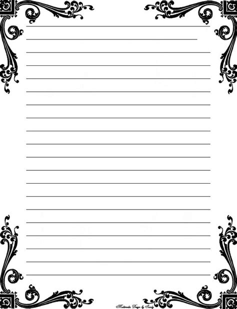 printable black and white stationery black and white printable lined stationery pictures to pin