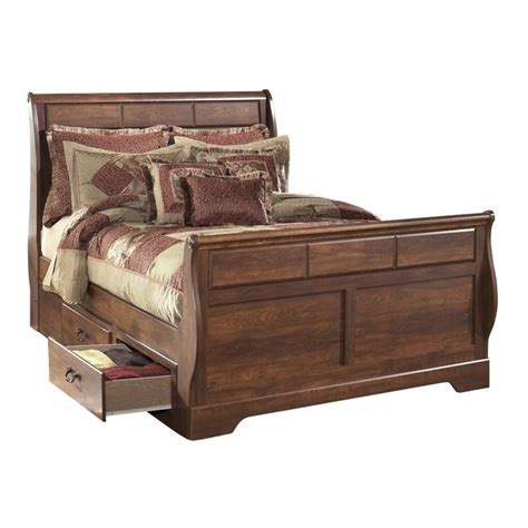 queen box spring with drawers ashley timberline wood queen drawer sleigh bed in warm