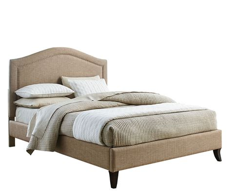 upholstered bed standard furniture simplicity camal back upholstered platform bed in linen beyond stores