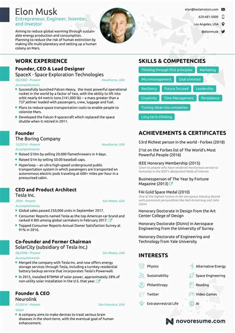 Elon Musk Resume Take Lessons From Tesla Owner S Cv On How To Make Your Cv India Com Single Resume Template