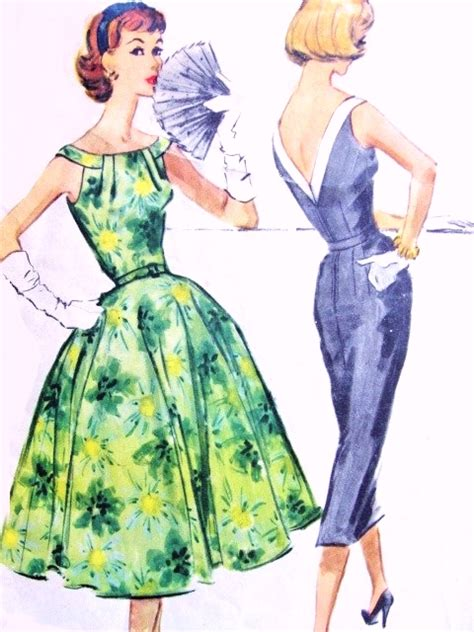 dress pattern v back 1950s beautiful cocktail party dress pattern mccalls 4417