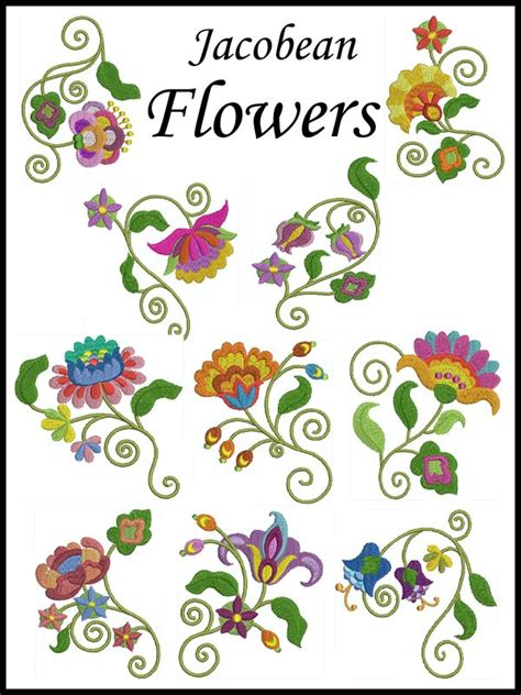 design embroidery brother jaco flowers machine embroidery design set of 10 2 sizes