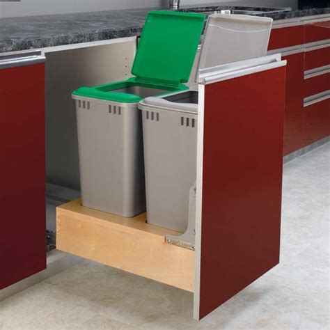 Built In Trash Cans For The Kitchen by Rev A Shelf Trash Pullout 50 Quart Wood 4wcbm 2150dm 2 Cabinetparts