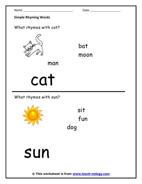 Rhyming Words Worksheet by Sentences With Rhyming Words For Worksheets