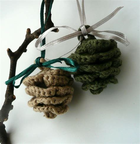 Pinecone Christmas Ornament Crochet Pinecone Set Of 2 Beige Olive