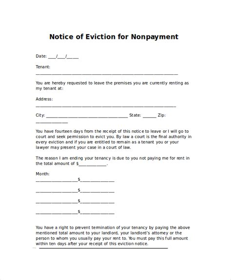 eviction letters 7 free pdf word documents free premium templates