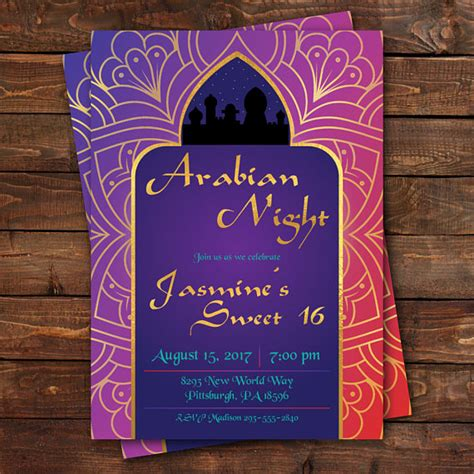 Nights Invitation Template Arabian Nights Birthday Invitation Sweet 16 Invitation
