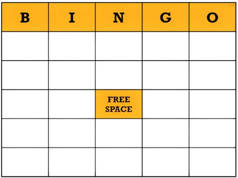 bingo standard card template free blank bingo card template word