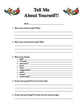 sle of tell me about yourself tell me about yourself worksheet by erin fahey tpt