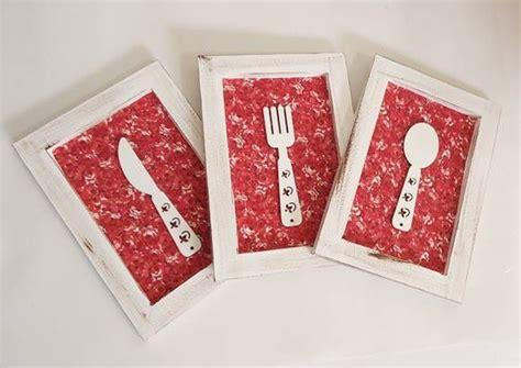 apliques para pendurar quadros trio de quadros talheres vermelho ems