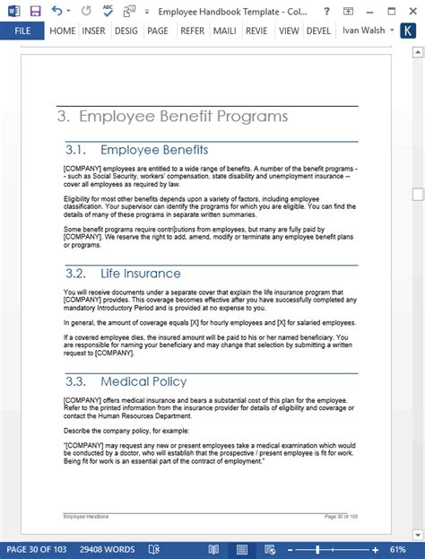 Employee Benefits Handbook Template Employee Handbook Template Download 100 Pg Ms Word Templates Excel