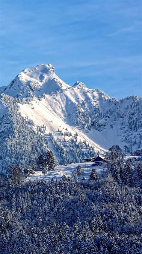 mountains snow top sky wallpaper