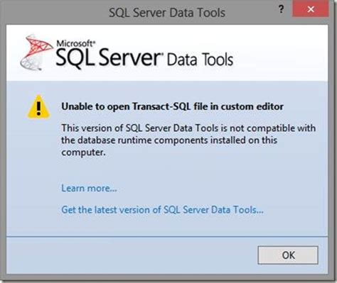 case transact sql how to solve unable to open transact sql file in custom