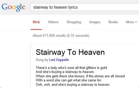 Lyric Lookup Copies Adds Song Lyrics In Search Results